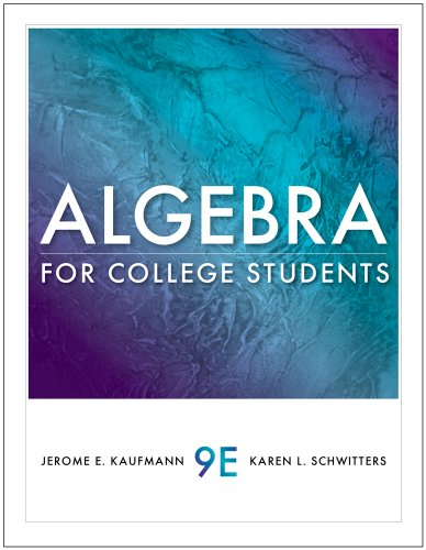 Algebra for College Students  9th 2011 (Student Manual, Study Guide, etc.) 9780538731867 Front Cover