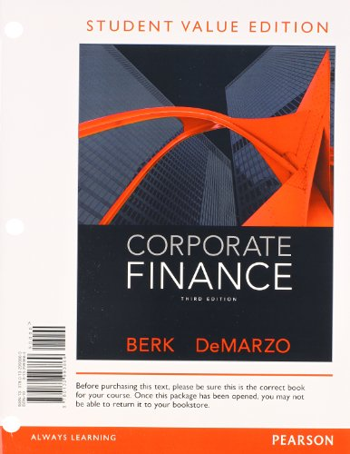 Corporate Finance: Student Value Edition 3rd 2013 edition cover
