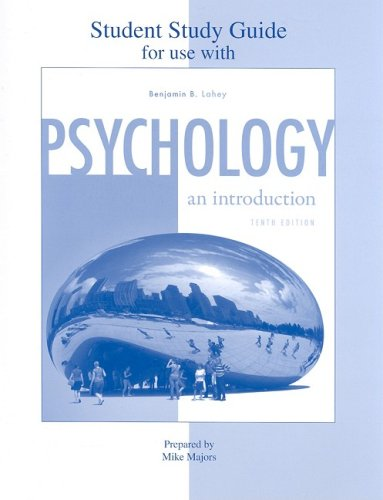 Student Study Guide to accompany Psychology: an Introduction  10th 2009 edition cover
