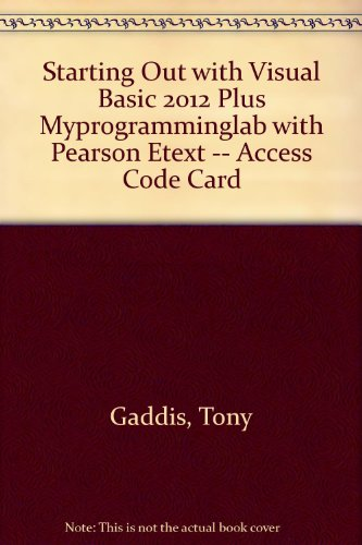 Starting Out with Visual Basic 2012  6th 2014 edition cover