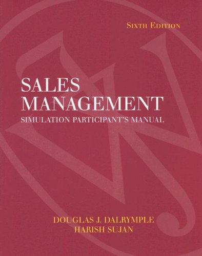 Sales Management Simulation Participant's Manual 9th 2005 (Revised) edition cover