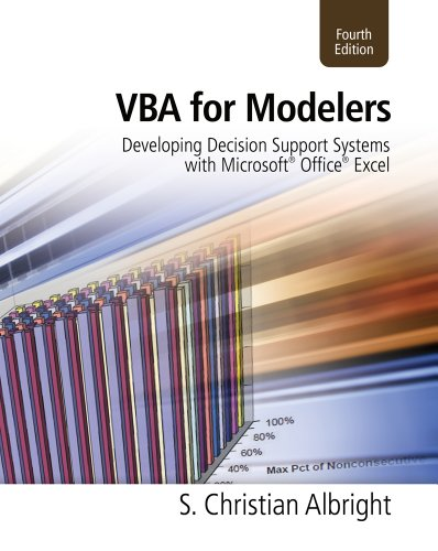 VBA for Modelers Developing Decision Support Systems with Microsoft� Office� Excel 4th 2012 edition cover