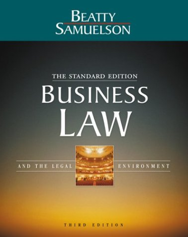 Business Law and the Legal Environment Standard Edition 3rd 2004 edition cover