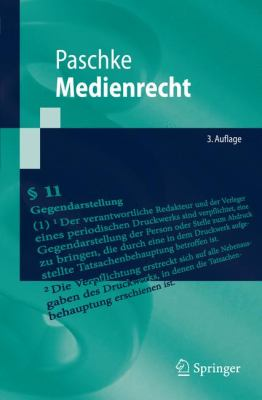 Medienrecht  3rd 2009 edition cover