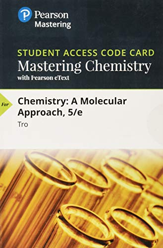 CHEMISTRY:MOLECULAR...-MASTERINGCHEM.   N/A 9780134989877 Front Cover