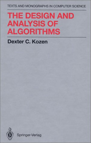 Design and Analysis of Algorithms   1992 9780387976877 Front Cover