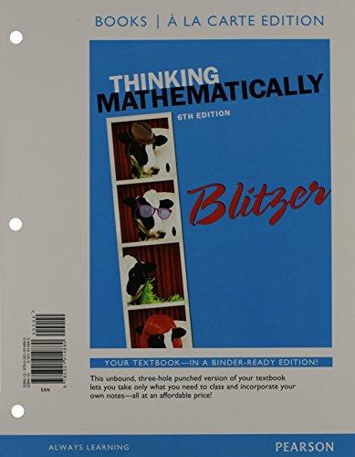 Thinking Mathematically, Books a la Carte Edition  6th 2015 edition cover