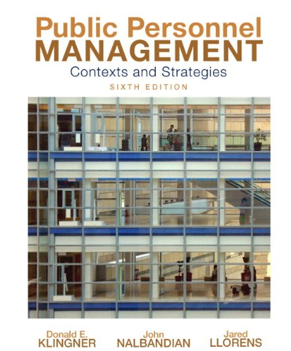 Public Personnel Management Contexts and Strategies 6th 2010 (Revised) edition cover