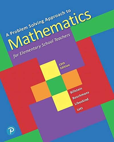 A Problem Solving Approach to Mathematics for Elementary School Teachers:   2019 9780135183885 Front Cover