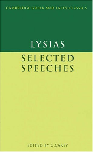 Lysias Selected Speeches  1989 9780521269889 Front Cover