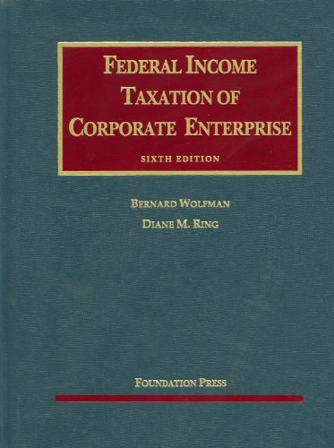 Federal Income Taxation of Corporate Enterprise  6th 2013 (Revised) edition cover