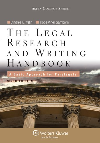 Legal Research and Writing Handbook A Basic Approach for Paralegals 6th 2012 (Revised) edition cover