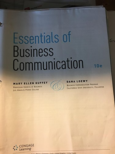 ESSENTIALS OF BUSINESS COMM.-TEXT       N/A 9781285858890 Front Cover