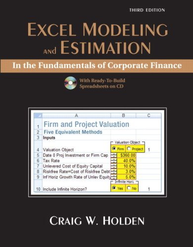Excel Modeling in the Fundamentals of Corporation Finance  3rd 2009 edition cover