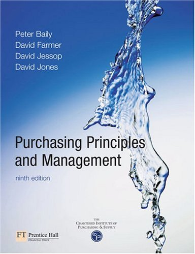 Purchasing, Principles and Management  9th 2005 (Revised) 9780273646891 Front Cover