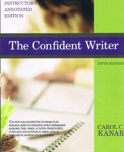 CONFIDENT WRITER >INSTRS.ANNOT N/A 9780618962891 Front Cover