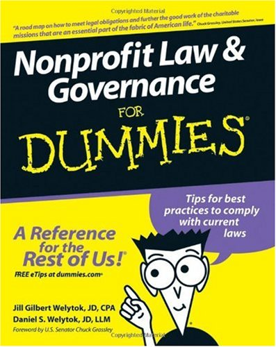 Nonprofit Law and Governance for Dummies   2007 edition cover