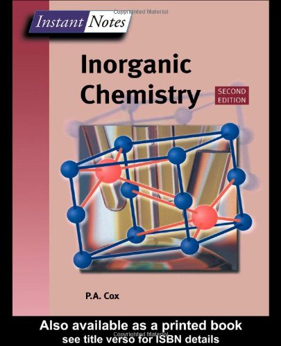 Instant Notes Inorganic Chemistry  2nd 2003 (Revised) edition cover