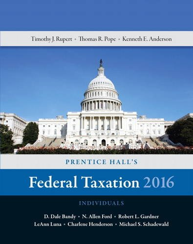 Prentice Hall's Federal Taxation 2016 Individuals  29th 2016 edition cover