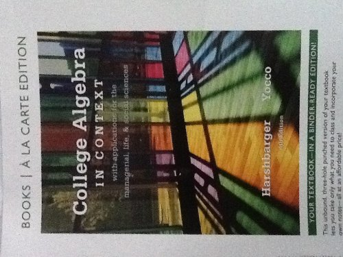 College Algebra in Context, Books a la Carte Edition  4th 2013 9780321783905 Front Cover