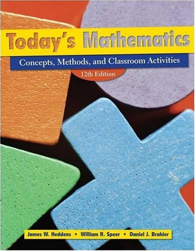 Today's Mathematics Concepts, Methods, and Classroom Activities 12th 2009 edition cover