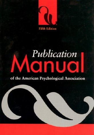 Publication Manual of the American Psychological Association 5th 2001 edition cover