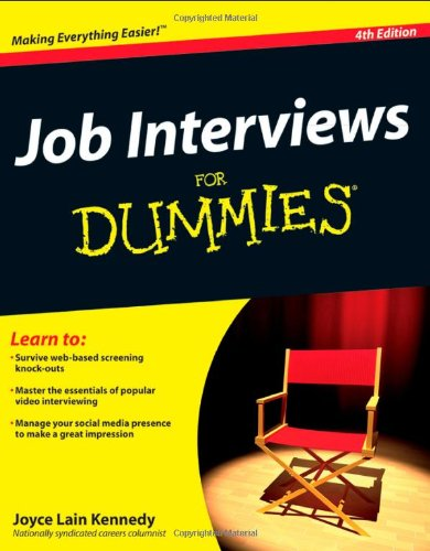 Job Interviews for Dummies�  4th 2012 9781118112908 Front Cover
