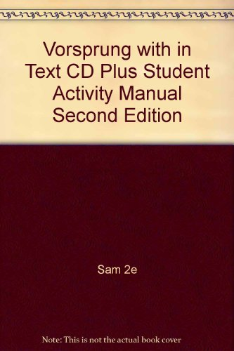 Vorsprung with in Text Cd Plus Student Activity Manual Second Edition 2nd 2007 9780618775910 Front Cover