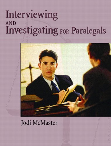 Interviewing and Investigation for Paralegals   2006 edition cover
