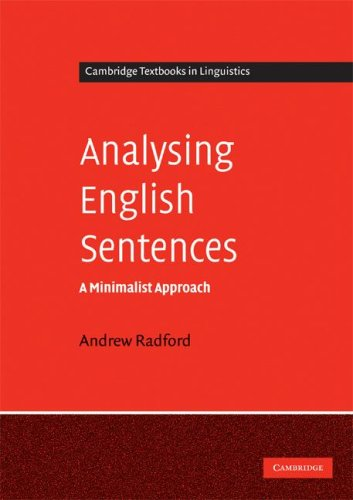 Analysing English Sentences A Minimalist Approach  2009 9780521731911 Front Cover