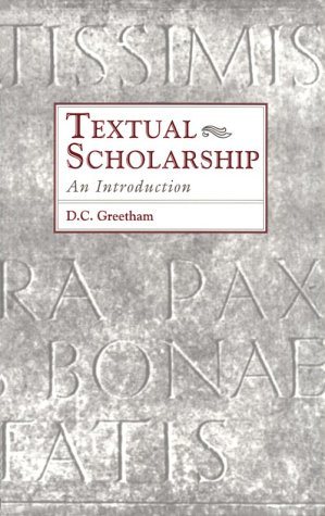 Textual Scholarship An Introduction  1994 (Reprint) edition cover
