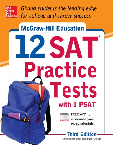 McGraw-Hills 12 Sat Practice Tests with 1 Psat  3rd 2014 edition cover