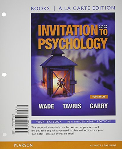 Invitation to Psychology, Books a la Carte Edition Plus NEW MyPsychLab with Pearson EText -- Access Card Packge  6th 2015 edition cover