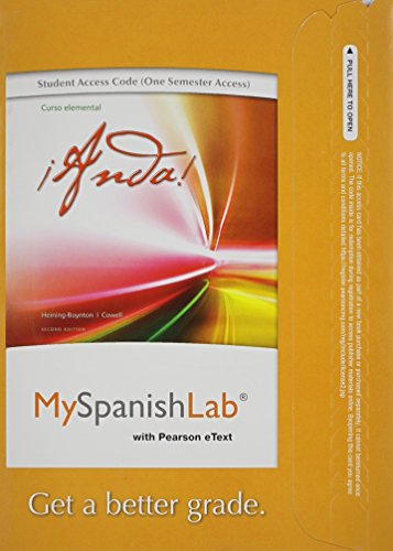 MySpanishLab with Pearson EText -- Access Card -- for Anda Curso Elemental (one Semester Access)  2nd 2013 edition cover