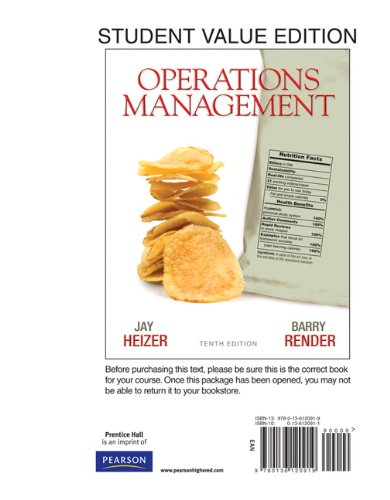 Operations Management, Student Value Edition  10th 2011 edition cover