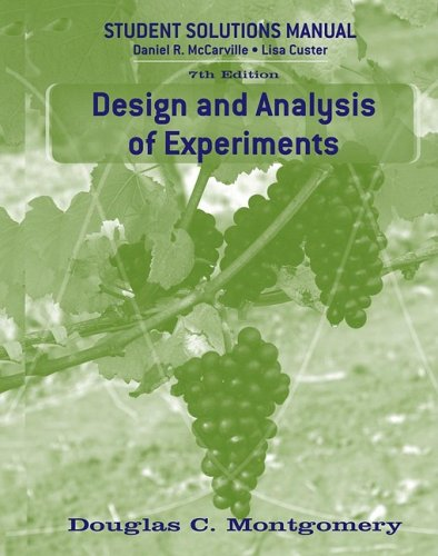 Design and Analysis of Experiments, Student Solutions Manual  7th 2009 (Student Manual, Study Guide, etc.) edition cover