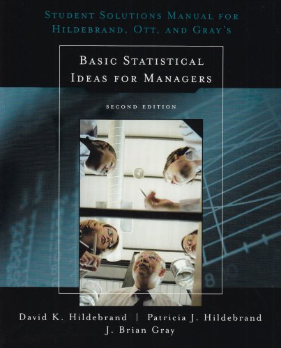Basic Statistical Ideas for Managers  2nd 2005 (Revised) 9780534382919 Front Cover