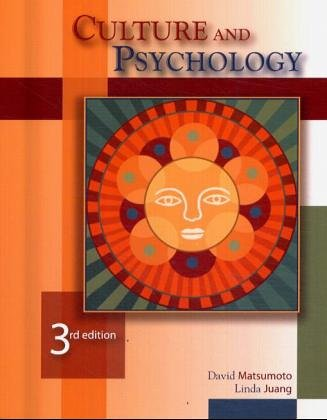 Culture and Psychology  3rd 2004 (Revised) edition cover