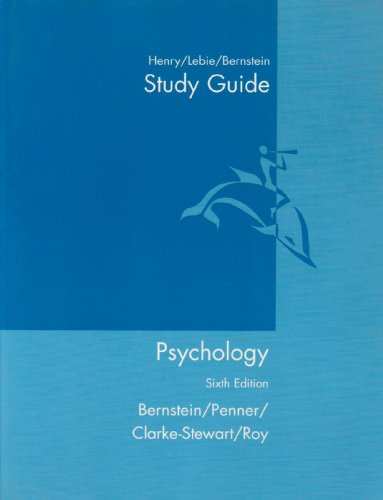 Study Guide : Used with ... Bernstein-Psychology 6th 2003 (Student Manual, Study Guide, etc.) 9780618219919 Front Cover