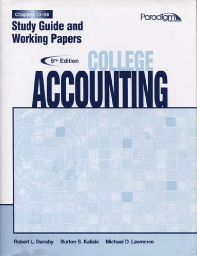 COLLEGE ACCT.,CHAPTERS 19-28-S.G+WKPRS N/A edition cover