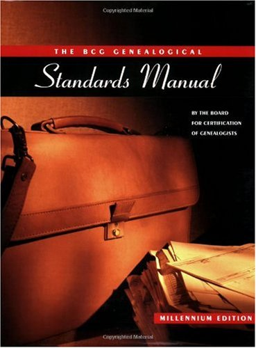 BCG Genealogical Standards Manual 50th Anniversary Edition  2000 edition cover