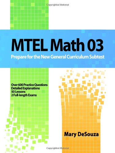 MTEL Math 03 Prepare for the New General Curriculum Subtest N/A edition cover