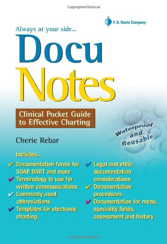DocuNotes Clinical Pocket Guide to Effective Charting  2009 edition cover