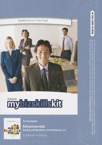 MyBizSkillsKit -- Updated Standalone Access Code -- for Entrepreneurship Starting and Operating a Small Business 3rd 2013 9780133146929 Front Cover