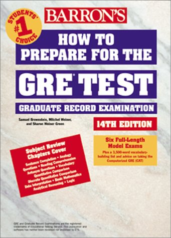 How to Prepare for the GRE Test  14th 2000 9780764115929 Front Cover
