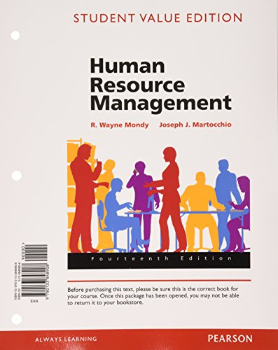 Human Resource Management, Student Value Edition Plus MyManagementLab with Pearson EText -- Access Card Package  14th 2016 edition cover
