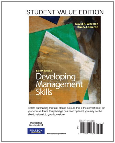 Developing Management Skills, Student Value Edition  8th 2011 edition cover
