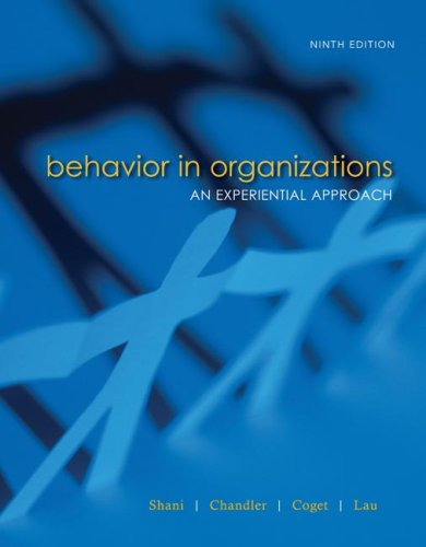 Behavior in Organizations  9th 2009 9780073404936 Front Cover