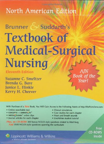Brunner and Suddarth's Textbook of Medical Surgical Nursing  11th edition cover