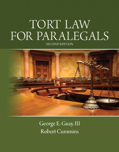 Tort Law for Paralegals  2nd 2014 edition cover